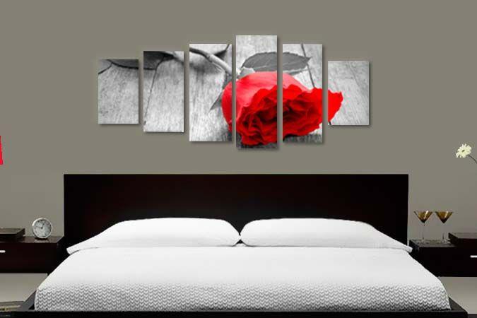 Trandafir rosu 38170- Tablouri canvas 6 piese- etablou.ro