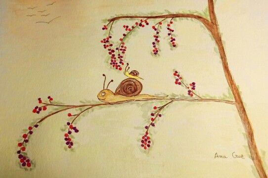 Caracoles #dibujo #acuarela