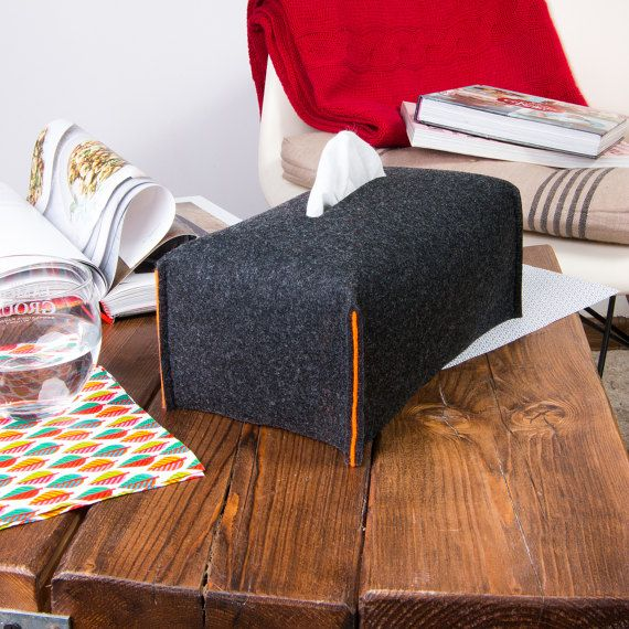 Large Tissue Box Case Housewarming Kleenex Box Cover Dark by POPEQ