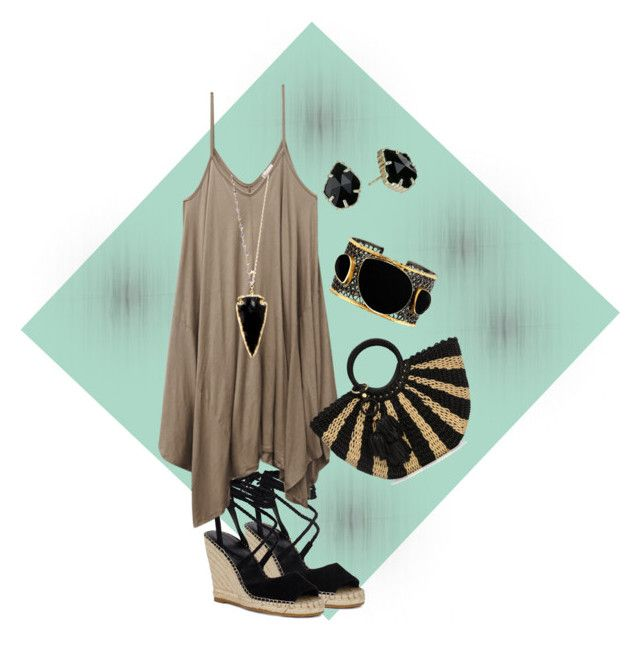 """""""Taupe and black color combination outfit"""" by thalia-salinas ❤ liked on Polyvore featuring Wet Seal, Heather Hawkins, Mela Artisans, Kendra Scott and Henri Bendel"""