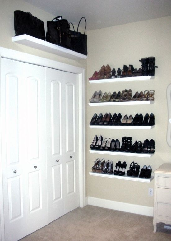 i like the idea of putting floating shelves in my closet and above the door for extra purse storage