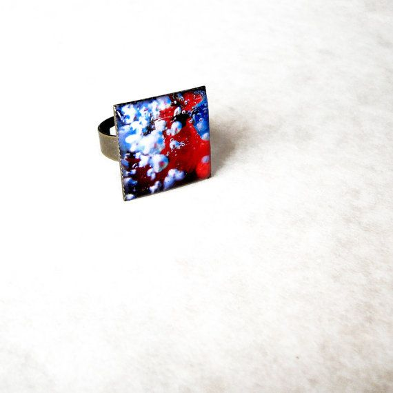 Bubbles resin ring / Square ocean inspired ring / Red cocktail ring / Nautical ring / Mermaid jewellery / Cute gift for her / FREE SHIPPING
