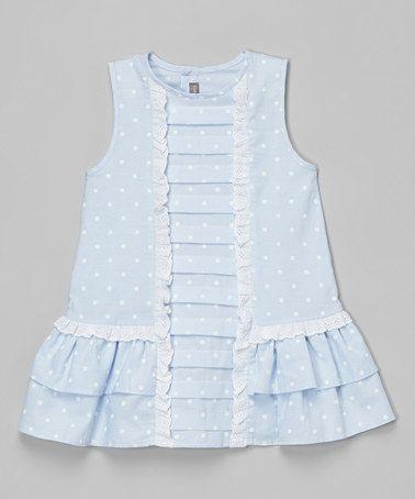 Look at this #zulilyfind! Blue Polka Dot Pleated Dress - Infant, Toddler & Girls #zulilyfinds