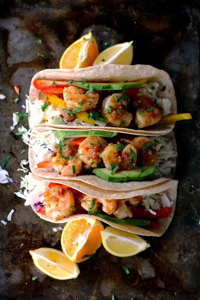 These rosemary citrus shrimp tacos are so flavorful and only take 15 minutes to make!