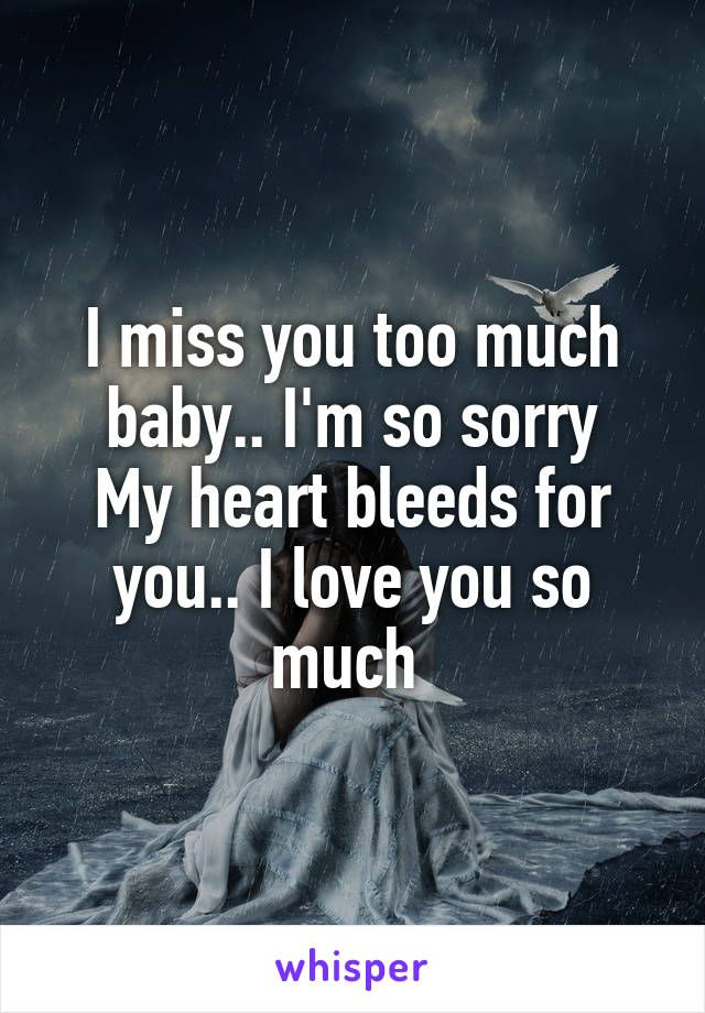 I Miss You Too Much Baby I M So Sorry My Heart Bleeds For You I Love You So Much Love You So Much Sorry My Love I Miss You