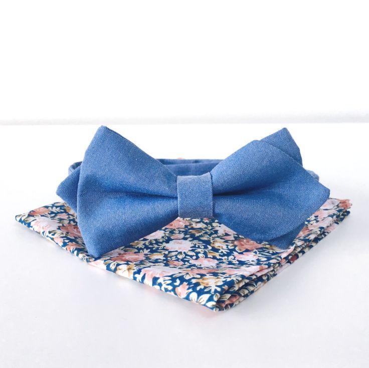 Zestaw dla pana młodego: niebieska mucha i poszetka w kwiaty! Idealny zestaw na ślub i wesele!
