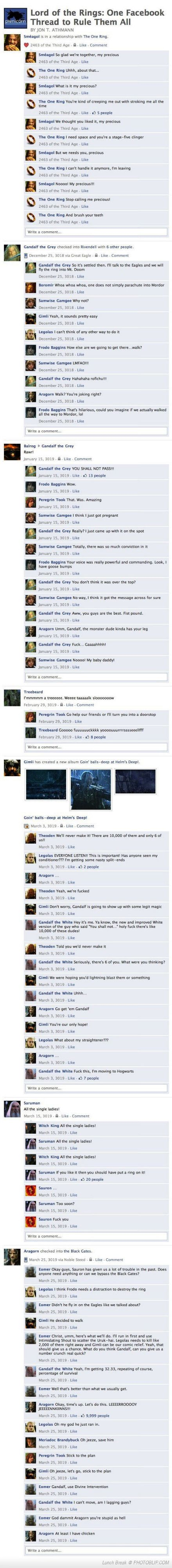"Lord Of The Rings Facebook. ""Nooo! My baby daddy!"" is where I lost it :)"
