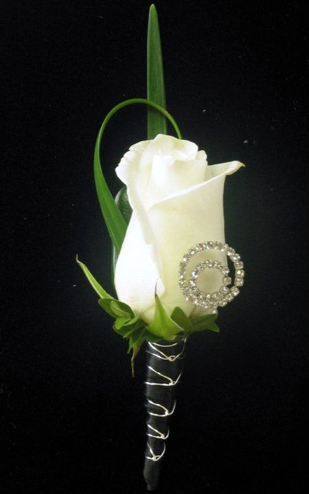 White rose boutonniere with a touch of bling