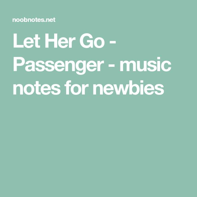 Let Her Go - Passenger - music notes for newbies