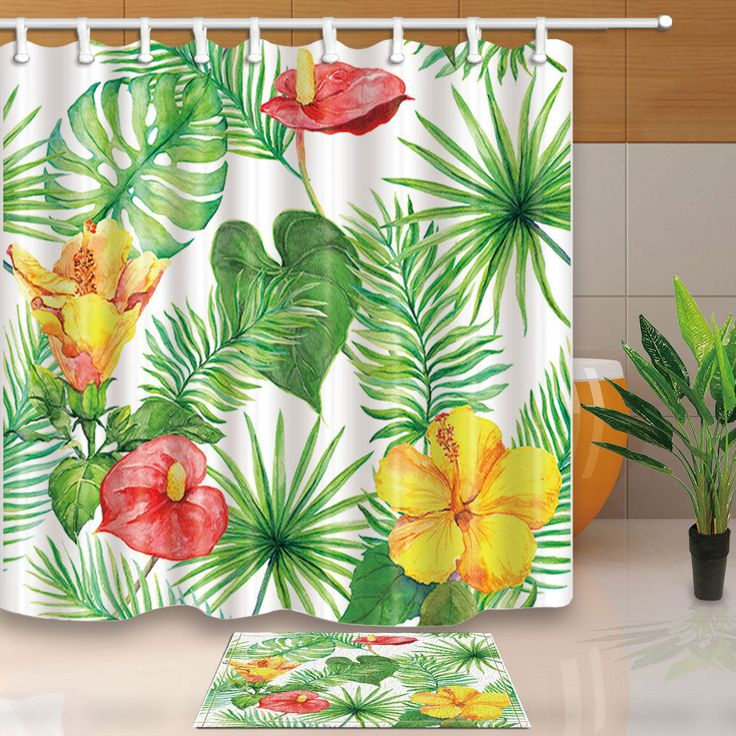 Calla Lily And Palm Leaves Plant Bathroom Fabric Shower Curtain Set 71Inches