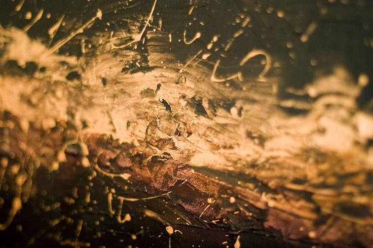 Gold Splat - olio e gesso su tela
