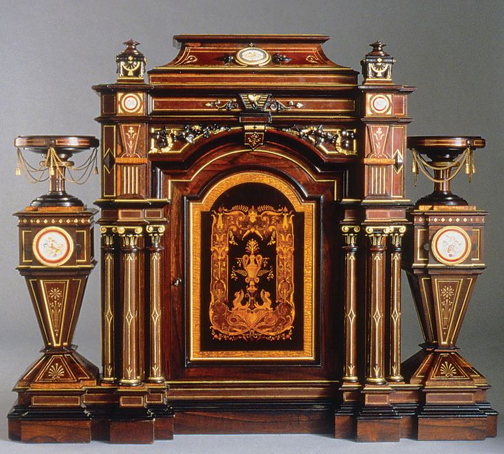 Superior Parlor Cabinet Made Of Wood With Inlays, Porcelain, Gilding, And Gilt Metal