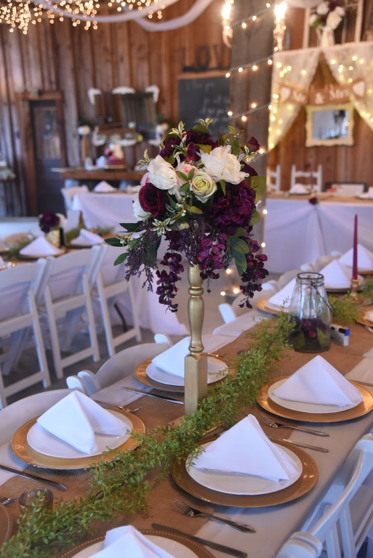 Rustic, vintage, garden-style, merlot, plum, blush pink, ivory and gold wedding centerpiece. #wishingwellbarn.com