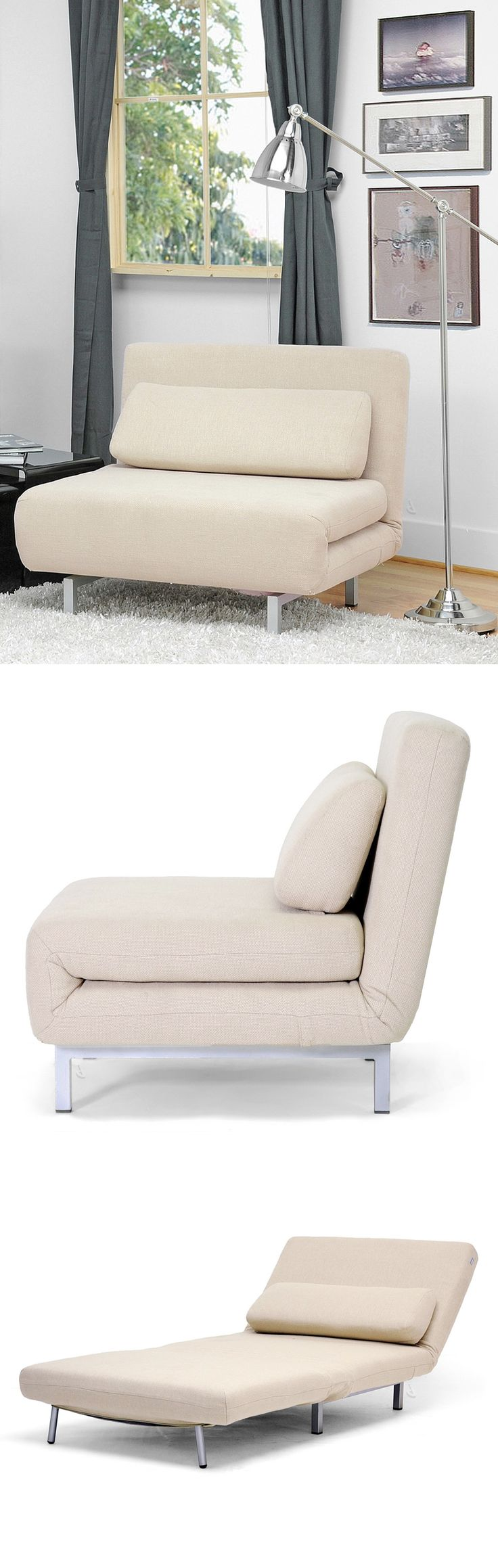 Comfy chair becomes a twin mattress sleeper in seconds #furniture_design