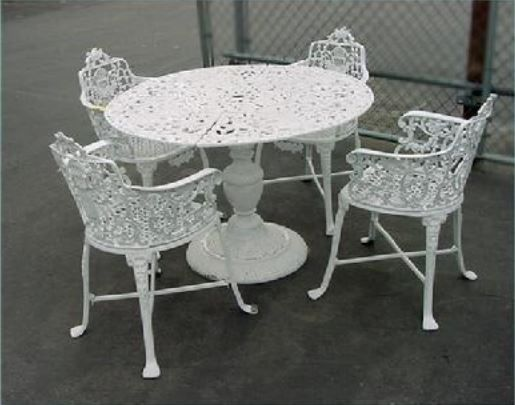 Cast Aluminum   Rose U0026 Lyre Patio Set (5 Piece)   Outdoor Furniture Part 68