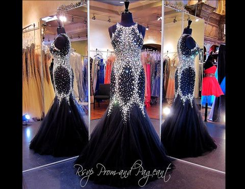 114MF017360398 BLACK MERMAID WOW! Tons and tons of Iridescent Stones cover this Fabulous Gown and it's ONLY at Rsvp Prom and Pageant in Lawrenceville, Georgia or order it at http://rsvppromandpageant.net/collections/long-gowns/products/114mf017360398-black