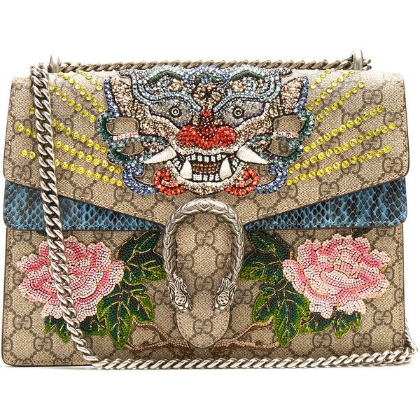 Gucci Dionysus GG Supreme embellished large shoulder bag ($5,900) ❤ liked on Polyvore featuring bags, handbags, shoulder bags, pink multi, gucci purse, leather over the shoulder bag, pink purse, brown shoulder bag and leather shoulder handbags