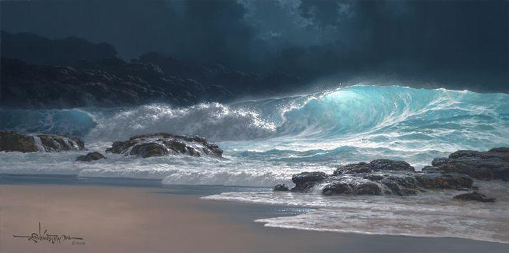 Океанские волны и тропические пляжи на маринах гавайского художника Roy Tabora.