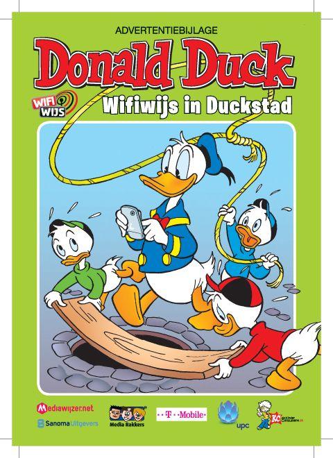 Wifiwijs in Duckstad - Het transmediaprogramma is gestart met een speciale Donald Duck uitgave, WifiWijs in Duckstad. De verhaallijnen in deze speciale Donald Duck zetten zich voort op deze website www.wifiwijs.nl, waarkinderen, jongeren en opvoeders op lange termijn terecht kunnen voor steeds nieuwe interactieve en speelse voorlichting over het mobiele tijdperk. Hoe wifiwijs ben jij? Doe hier de test: http://www.donaldduck.nl/quiz/35/#duck