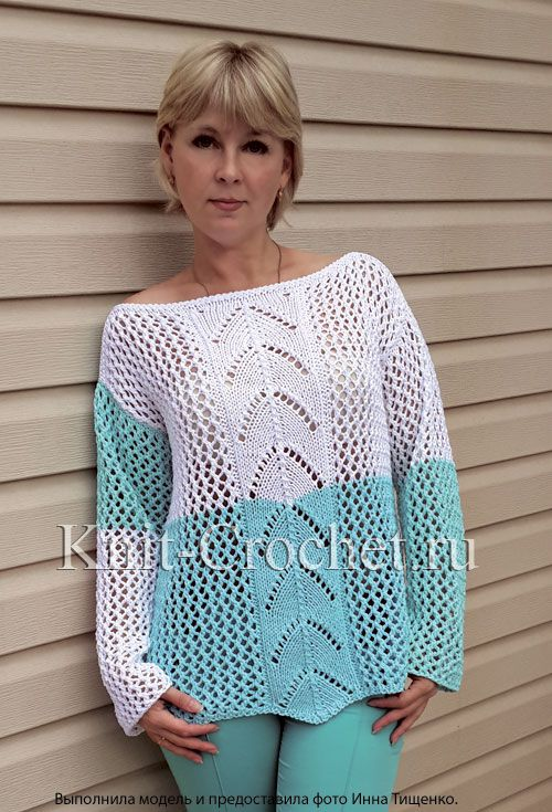 Женский удлиненный пуловер «Домино» размера 46-48, связанный на спицах.