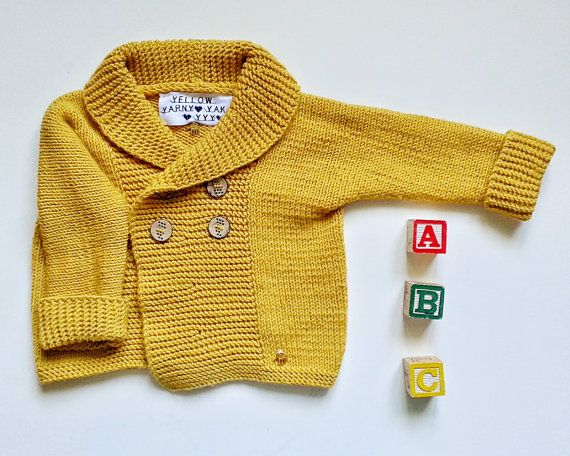 Hand knitted merino baby cardigan  Warm and soft by YellowYarnyYak