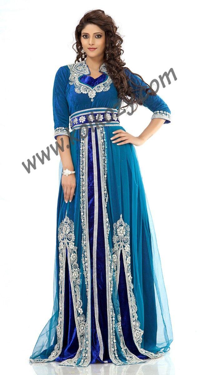 Splendorous Azure Blue Jacket Style Moroccan #Kaftan