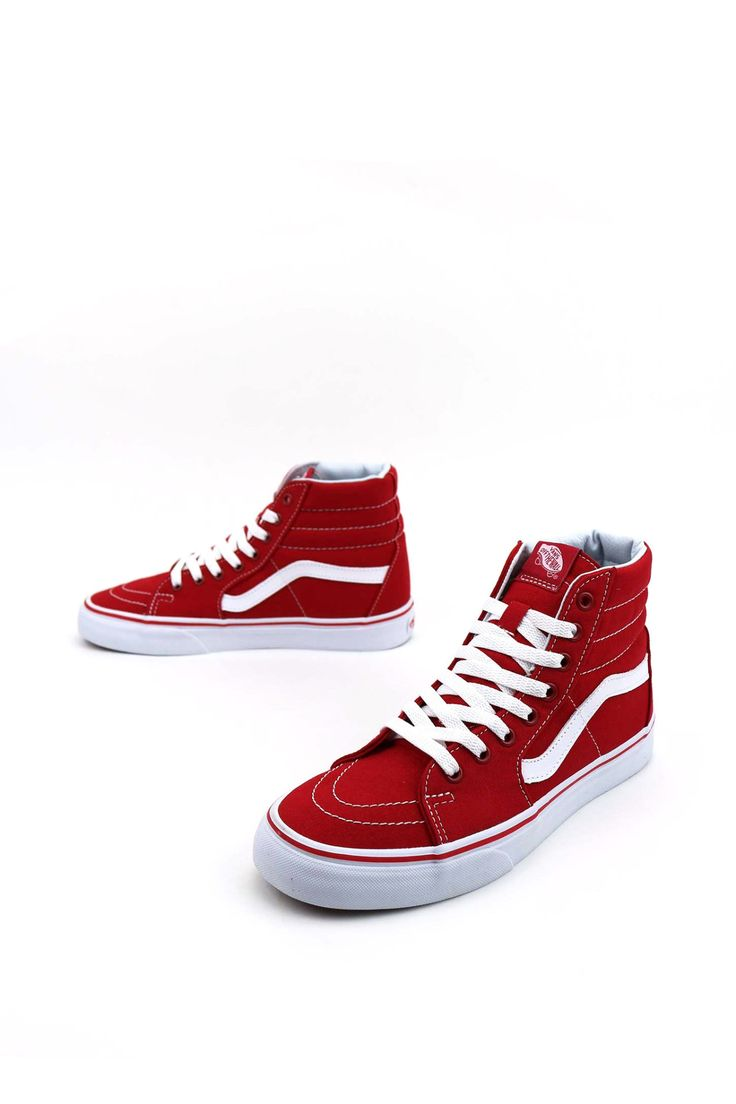 Whether you're on your deck or chillin' with your buds, it's always a good time to rock the Canvas Sk8-Hi Shoes by Vans. These classic skate kicks have a high-top design, padded collars for support an