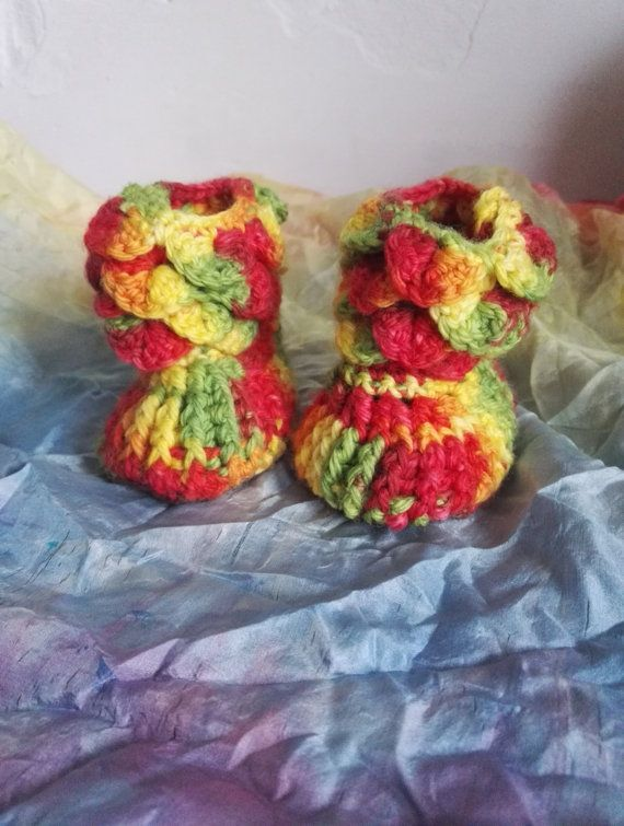 Rainbow Baby Booties Baby Shoes Crochet Shoes 3-6 months