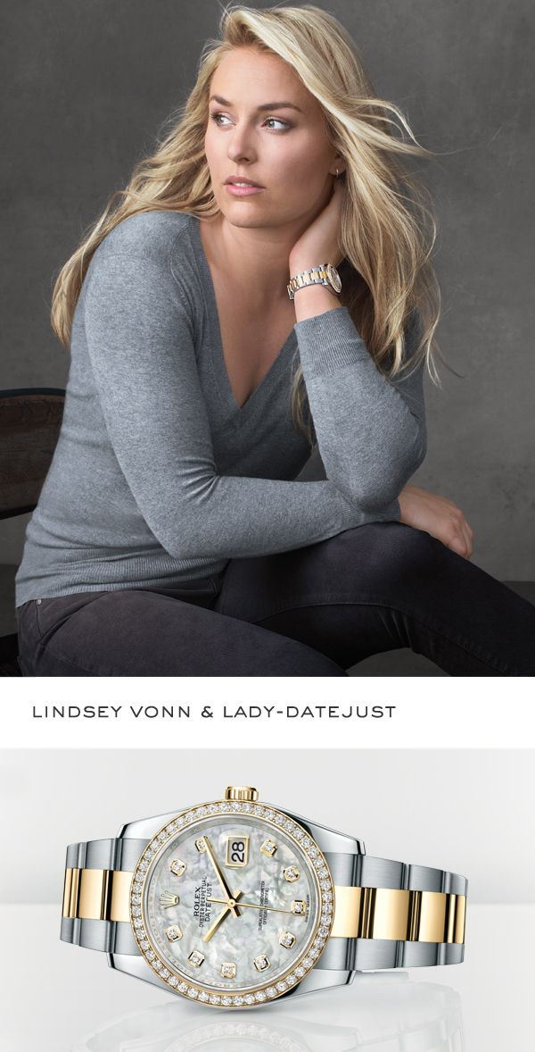 Skiing champion Lindsey Vonn sporting a Rolex Lady-Datejust. #RolexOfficial