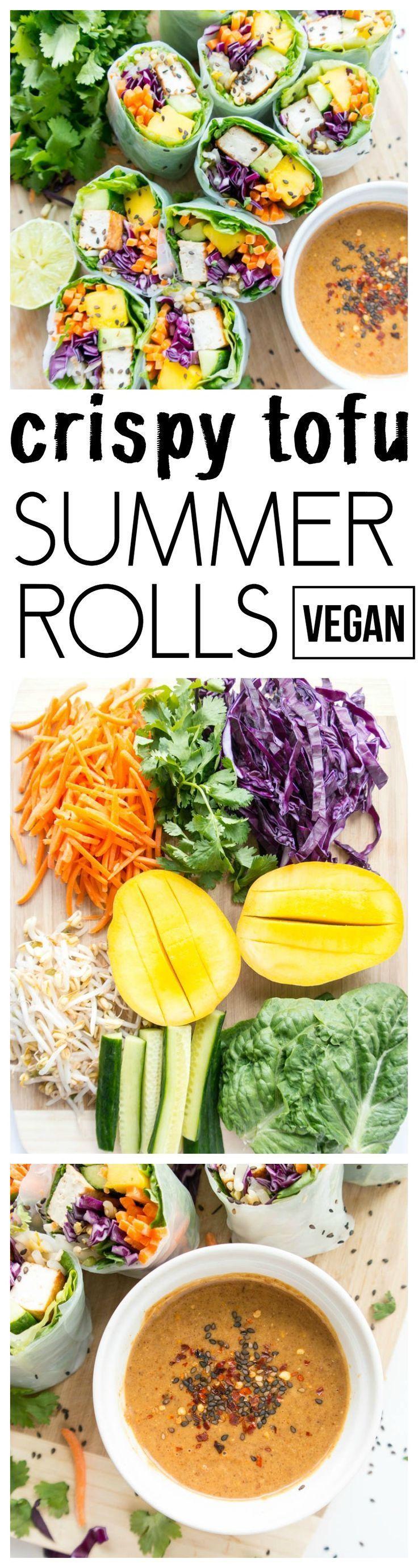 'Tofu Veggie Summer Rolls' with Spicy Almond Butter Sauce. Vegan, Gluten Free, Plant Based. Fresh, light & super healthy with crispy tofu, crunchy veggies, juicy mango & tangy, spicy almond butter dipping sauce! #vegan #summer #rolls
