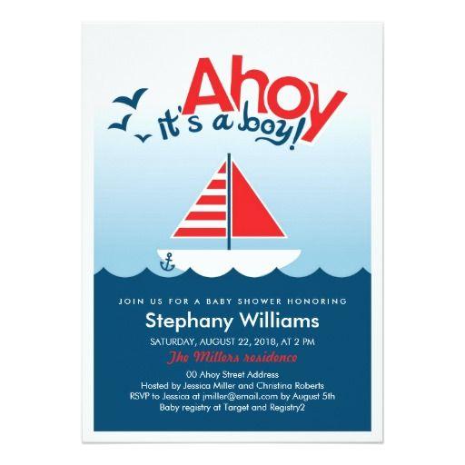 Ahoy Itu0027s A Boy Nautical Baby Shower Invite
