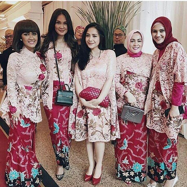 model kebaya rok batik blouse broklat, kebaya artis nagita julia perez, luna maya