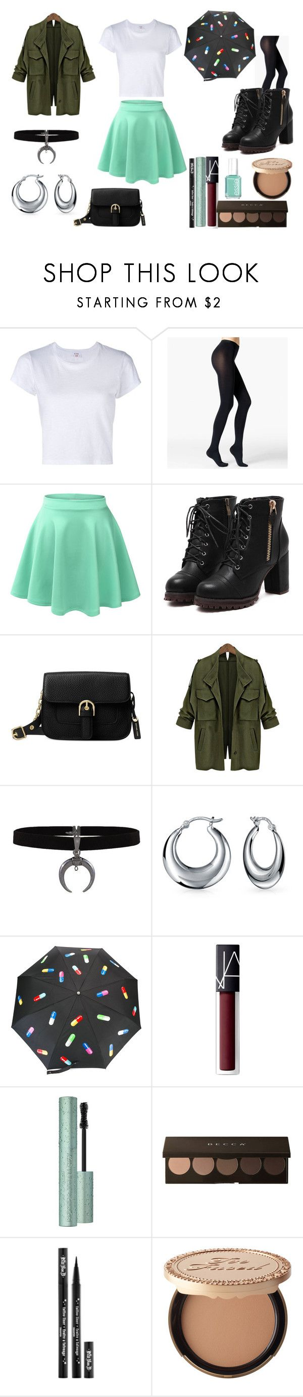 """""""rainy fall first date"""" by nikkiasheeshie on Polyvore featuring moda, RE/DONE, Fogal, LE3NO, Michael Kors, Bling Jewelry, NARS Cosmetics, Kat Von D, Too Faced Cosmetics ve Essie"""