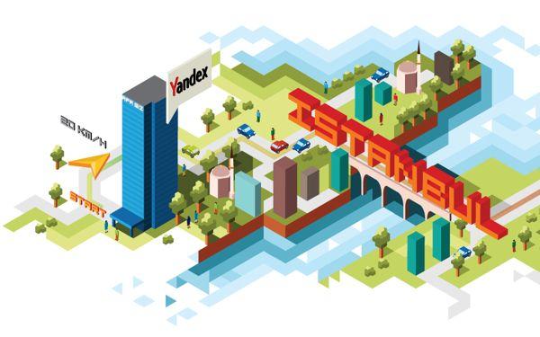 Illustration for Yandex: Istanbul by Olga Baranova, via Behance