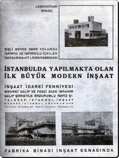 Mecidiyeköy Likör ve Kanyak Fabrikasının 1931 yılında Mimar Dergisi'nin 2 sayısında yer alan inşaat ilanı.