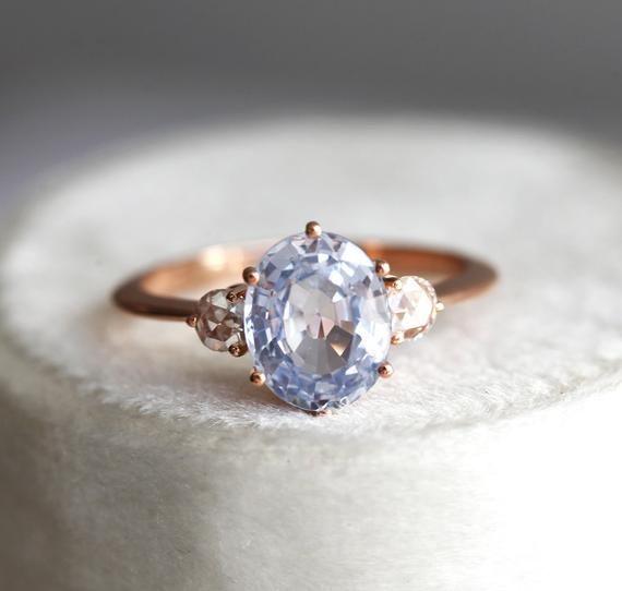 Ceylon Blue Sapphire Engagement Ring Three Stone Ring Round Etsy Sapphire Engagement Ring Blue Three Stone Engagement Rings Engagement Rings Sapphire