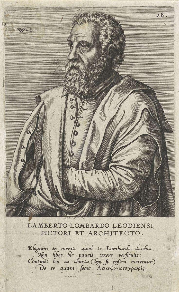 Johannes Wierix | Portret van de schilder Lambert Lombard, Johannes Wierix, Dominicus Lampsonius, weduwe Hieronymus Cock, 1572 | In de marge een vierregelig onderschrift in het Latijn en aan het eind Griekse woorden.