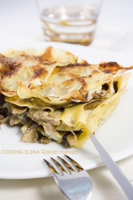 Lasagne con radicchio, funghi e taleggio Fatte 6/1/2017. Non ho messo il taleggio solo la besciamella.buonissime.....