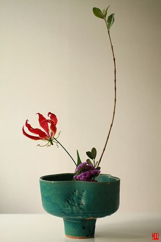 Ikebana Asian style flower arrangement