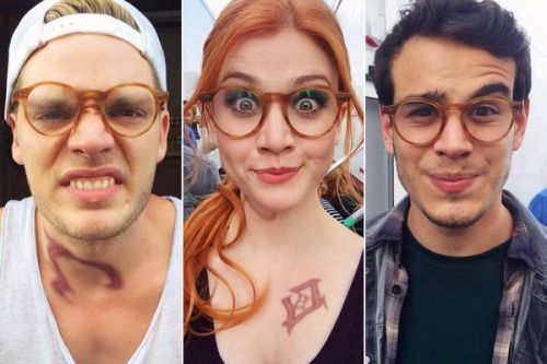 Behind the scenes photo. Funny picture of the three leads wearing Simon's glasses. Very funny. Also Dom and Kat sporting some ruins on their skin.