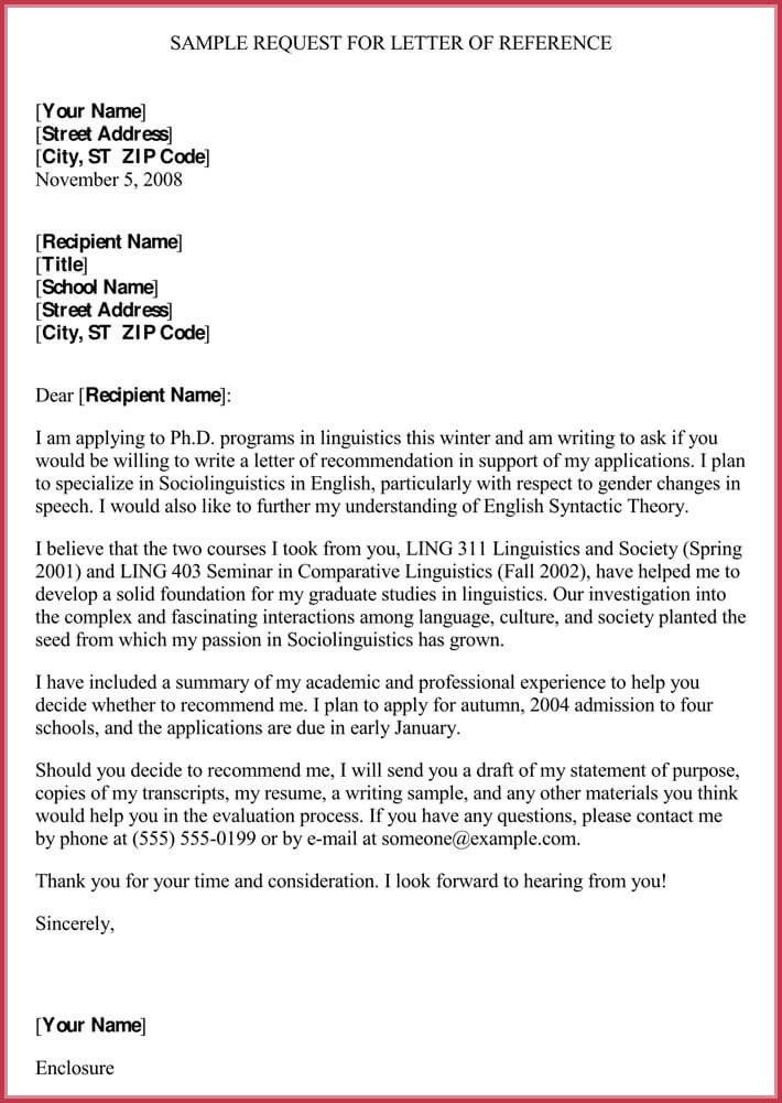 Format For Letter Of Recommendation Unique Formal Reference 8 Sample L Professional Template Linguistic Personal Statement