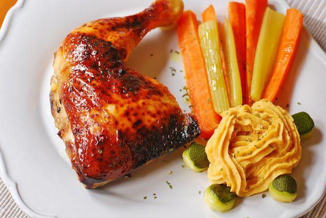 Pollo asado a la miel de romero.   Cuchillito y Tenedor