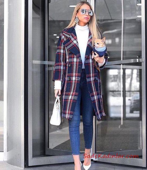 2019 Bayan Kase Kaban Modelleri Lacivert Uzun Yakali Dugmeli Ekose Desenli Ekose Moda Stilleri Moda