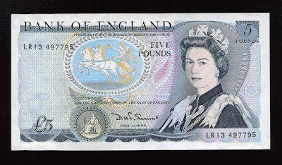 £5 British Pound Sterling note currency, Queen Elizabeth