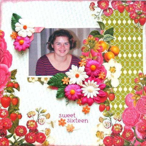 Girls page created with Webster's Strawberry Fields collection by Rosemary for My Scrappin' Shop.