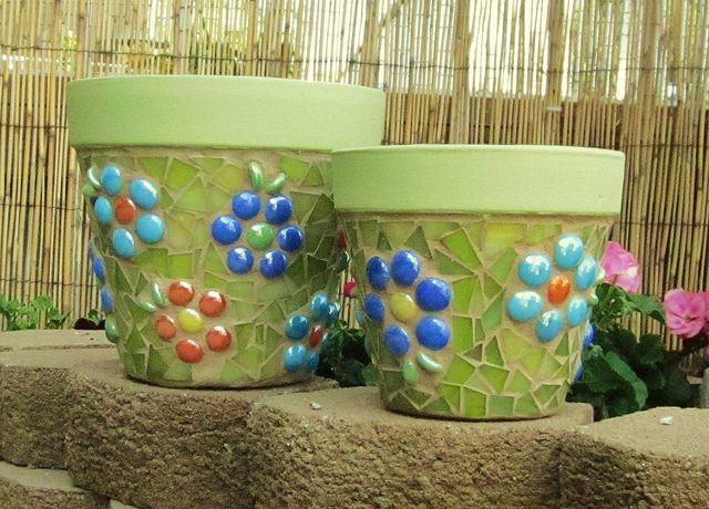 Mosaic Pots by GardenDivaDeb, via Flickr