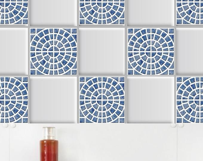Geometric Tile Stickers Set Of 12 Tile Sticker Kitchen Etsy Backsplash Cocinas Azulejos Etsy