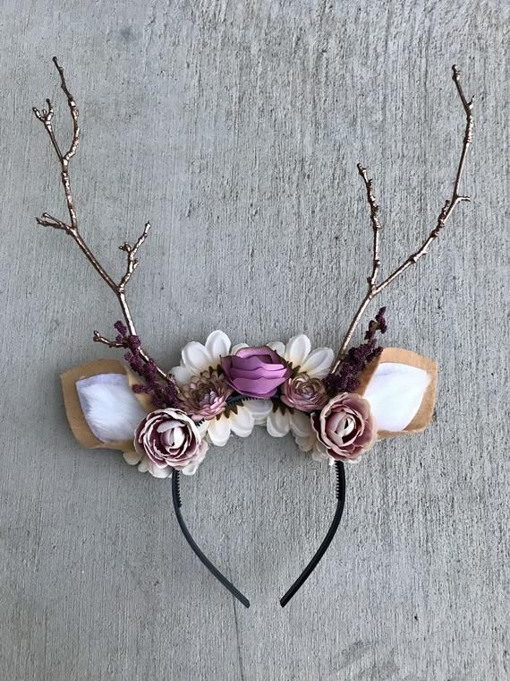 Deer Headband With Flowers & Rose Gold Antlers-Deer Kostüm, Halloween, Headband-Fits Kids und Erwachsene