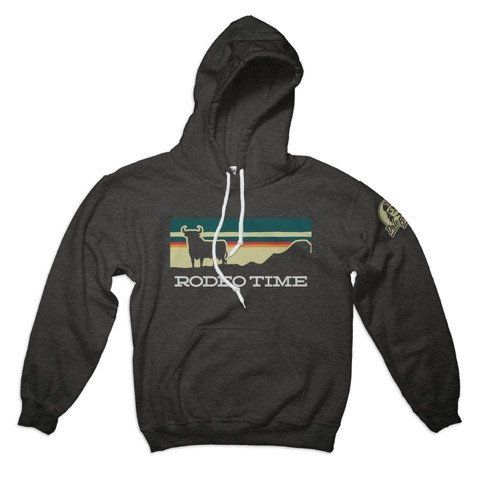 Rodeo Time Hoodie 80% ring-spun cotton, 20% poly Hooded with flat matching drawstring Ribbed cuffs and waistband Kangaroo pocket Unisex size – women may prefer to order one size smaller Size Specifica