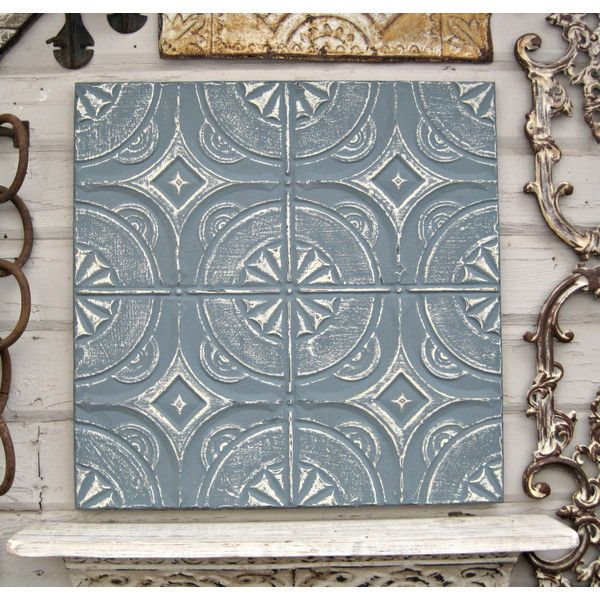 Vintage 2x2 Ceiling Tin Tile Antique Architectural Salvage Blue Wall... ($59) ❤ liked on Polyvore featuring home, home decor, wall art, grey, home & living, home décor, wall décor, wall hangings, handmade wall hanging and handmade wall art